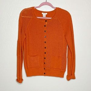 Sundance Orange Perforated Button Front Cardigan